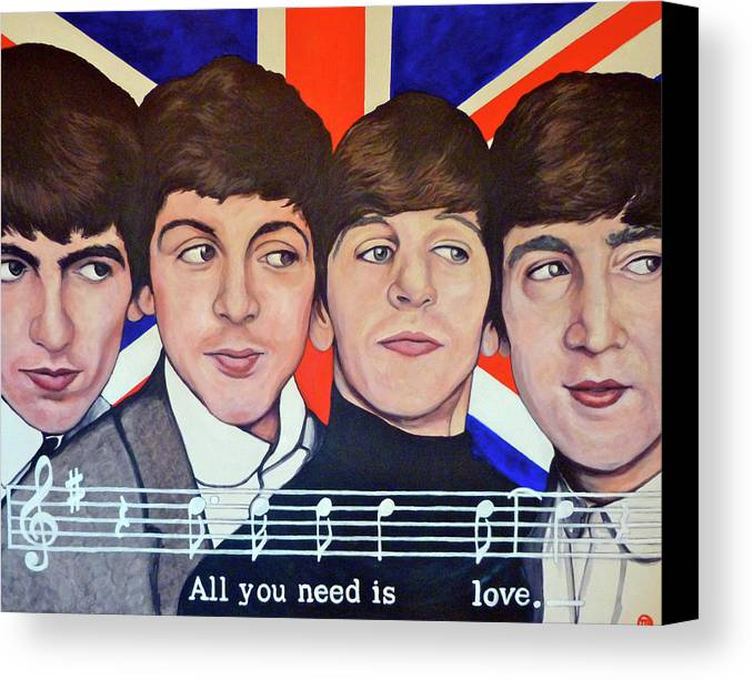 All You Need Is Love Canvas Print featuring the painting All You Need Is Love by Tom Roderick