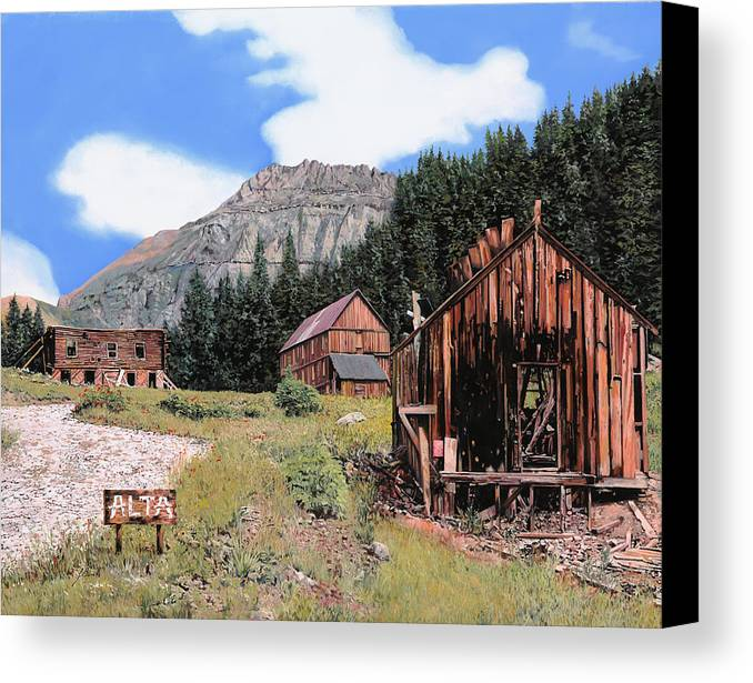 Ghost Town Canvas Print featuring the painting Alta In Colorado by Guido Borelli