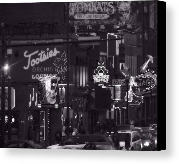 Bars On Broadway Nashville Canvas Print featuring the photograph Bars On Broadway Nashville by Dan Sproul