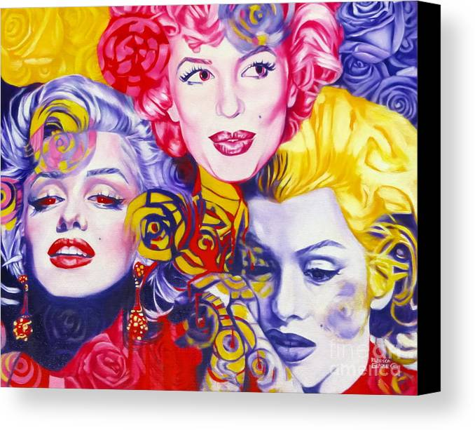 Marilyn Monroe Canvas Print featuring the painting Bouquet Of Marilyn by Rebecca Glaze