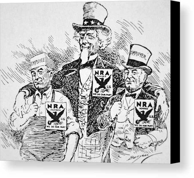 Male Canvas Print featuring the drawing Cartoon Depicting The Impact Of Franklin D Roosevelt by American School