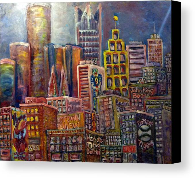 Canvas Print featuring the painting Cityscape 9 by Don Thibodeaux