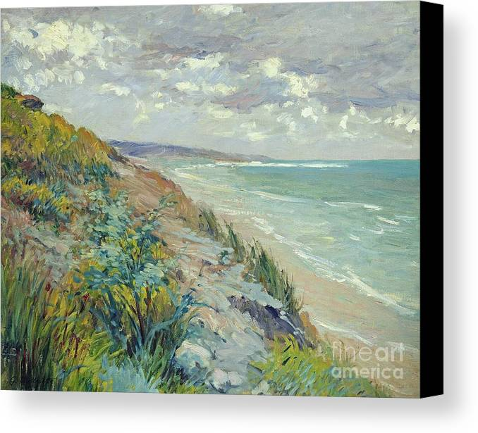 Beach Canvas Print featuring the painting Cliffs By The Sea At Trouville by Gustave Caillebotte