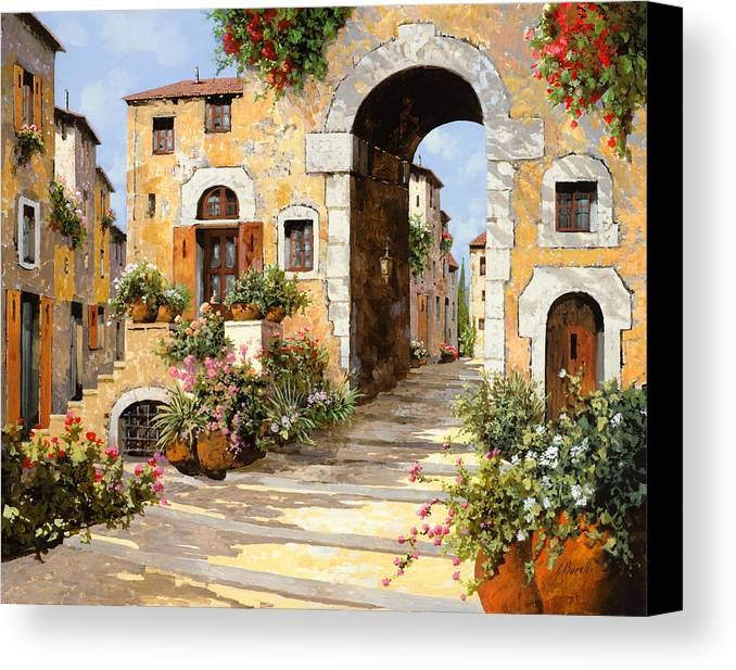 Cityscape Canvas Print featuring the painting Entrata Al Borgo by Guido Borelli