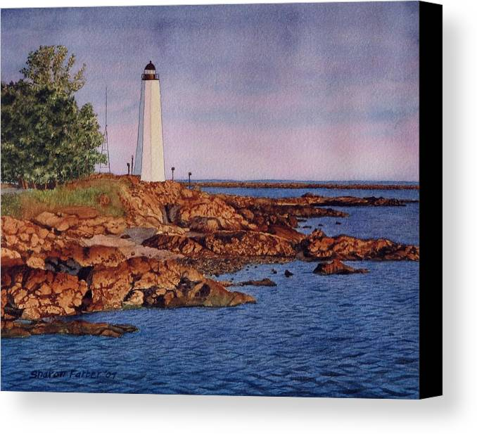 Lighthouse Canvas Print featuring the painting Five Mile Point Lighthouse by Sharon Farber