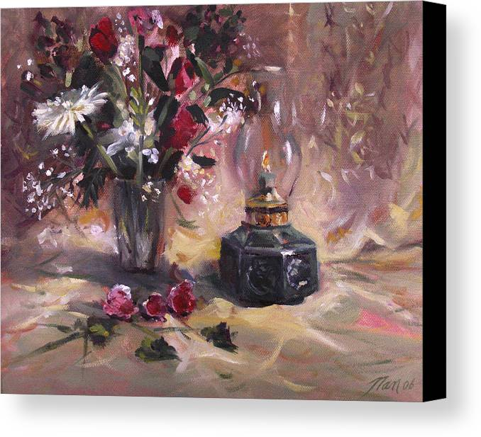Flowers Canvas Print featuring the painting Flowers With Lantern by Nancy Griswold