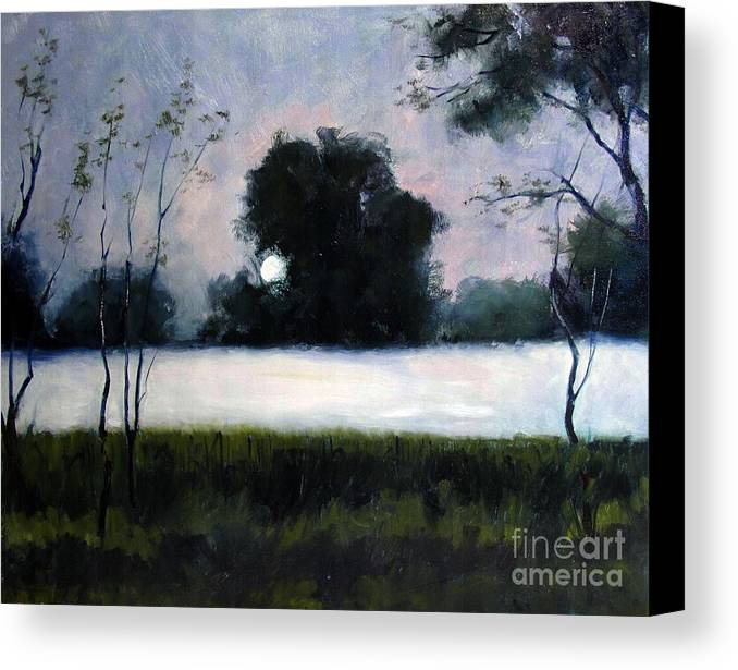 Fog Canvas Print featuring the painting Fog Moon by Charlie Spear