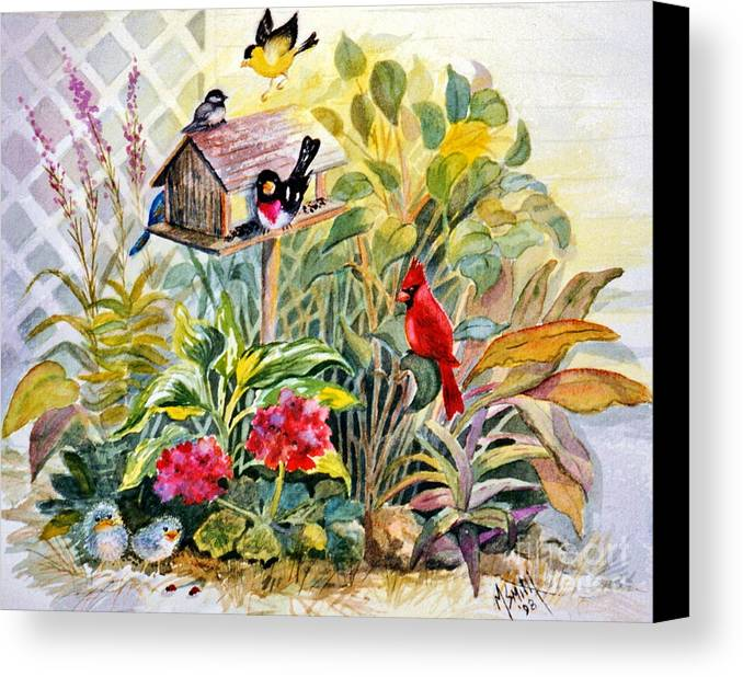Birds Canvas Print featuring the painting Garden Birds by Marilyn Smith