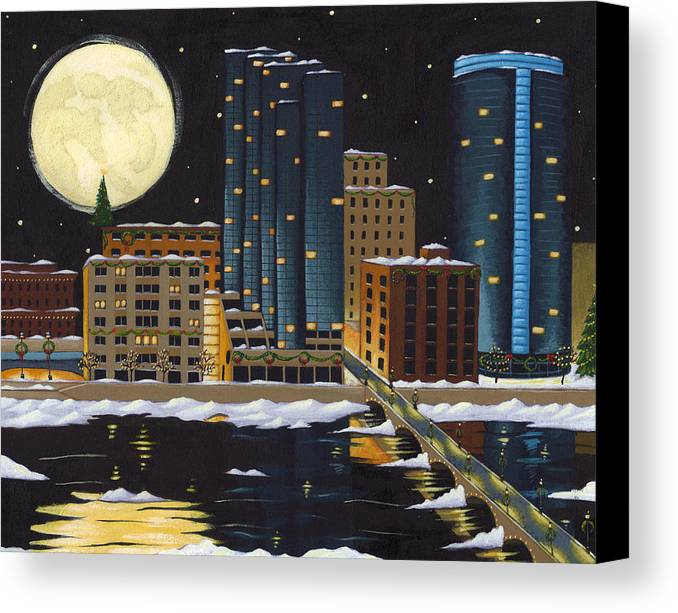 Grand Rapids Canvas Print featuring the painting Grand Rapids by Christy Beckwith