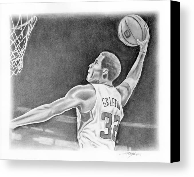 Clippers Canvas Print featuring the drawing Griffin by Don Medina