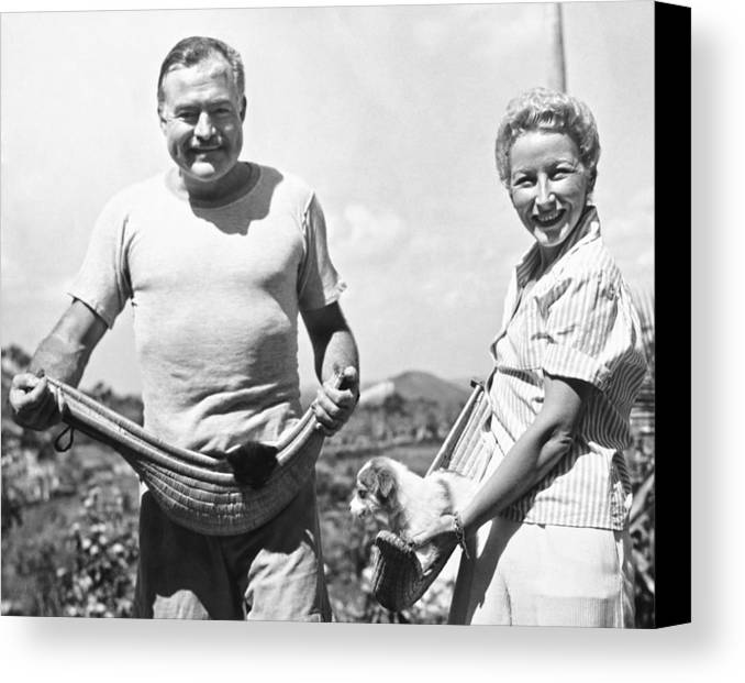 1946 Canvas Print featuring the photograph Hemingway, Wife And Pets by Underwood Archives