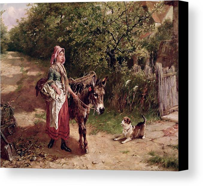 Spade Canvas Print featuring the painting Home From Market by Edgar Bundy
