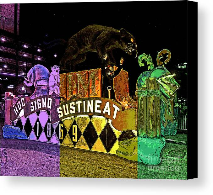 Digital Art Canvas Print featuring the photograph Infant Mystics Emblem In Mardi Gras Colors by Marian Bell