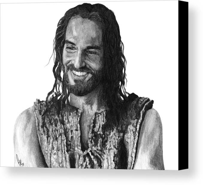Drawing Canvas Print featuring the drawing Jesus Smiling by Bobby Shaw