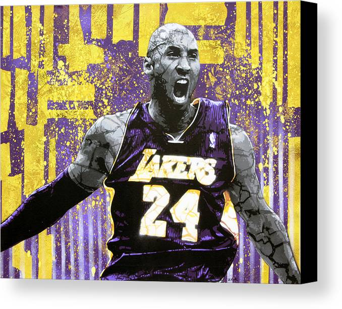 Kobe Canvas Print featuring the painting Kobe The Destroyer by Bobby Zeik