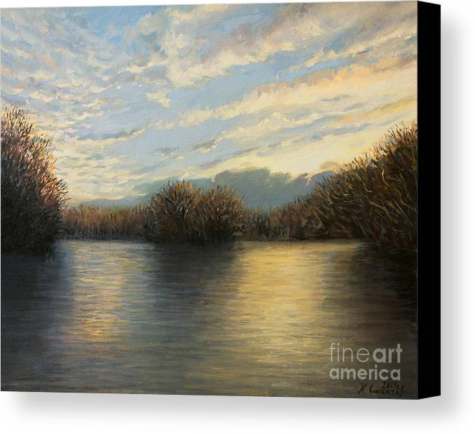 Illustration Canvas Print featuring the painting Light At The End Of The Day by Kiril Stanchev