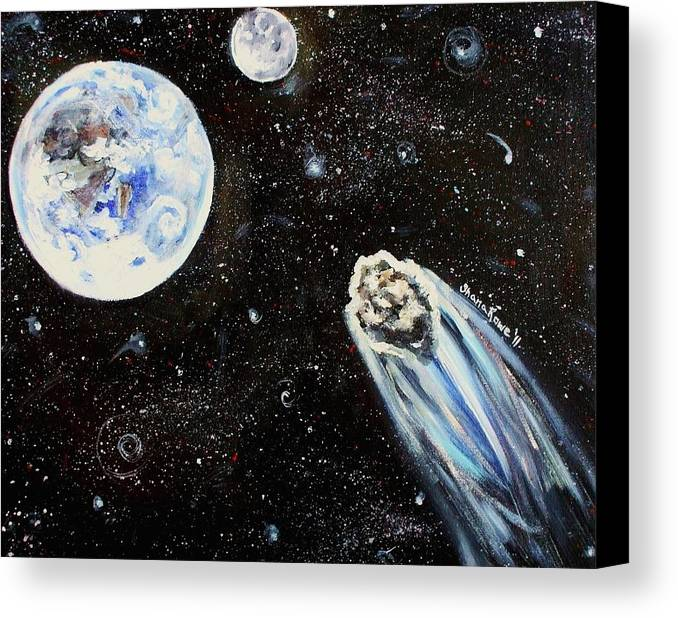 Space Canvas Print featuring the painting Make A Wish by Shana Rowe Jackson