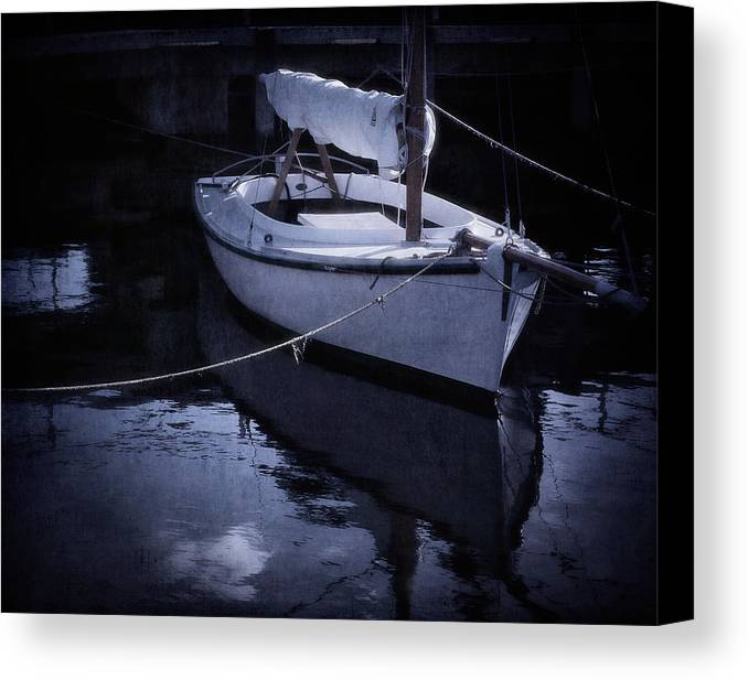 Boat Canvas Print featuring the photograph Moonlight Sail by Amy Weiss