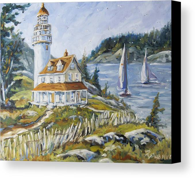 Fleuve St-laurent Canvas Print featuring the painting Out To Sea By Prankearts by Richard T Pranke