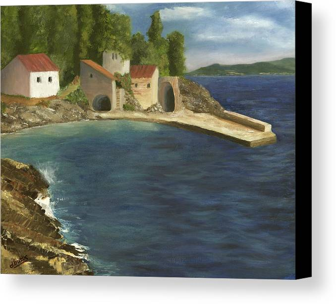 Seascapes Canvas Print featuring the painting Quiet Cove by Deborah Butts