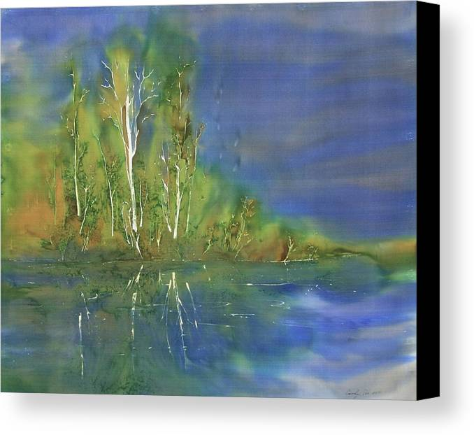Batik Canvas Print featuring the tapestry - textile Quiet Stream by Carolyn Doe