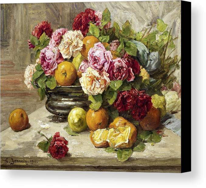 Still Life Canvas Print featuring the painting Roses And Fruit by Mountain Dreams