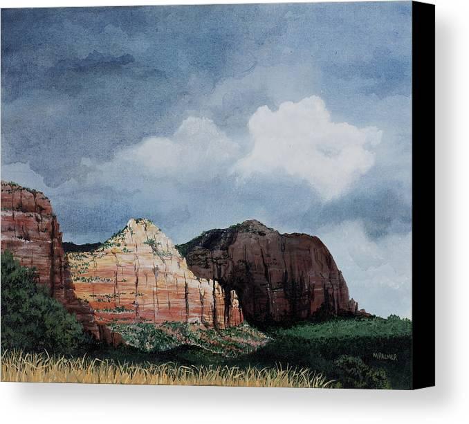 Sedona Arizona Canvas Print featuring the painting Sedona Storm by Mary Palmer