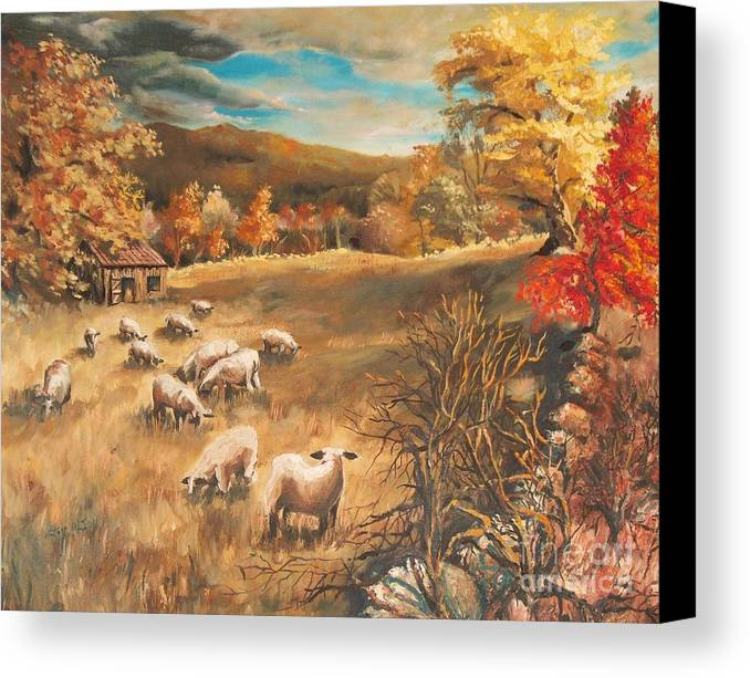 Oil Painting Canvas Print featuring the painting Sheep In October's Field by Joy Nichols