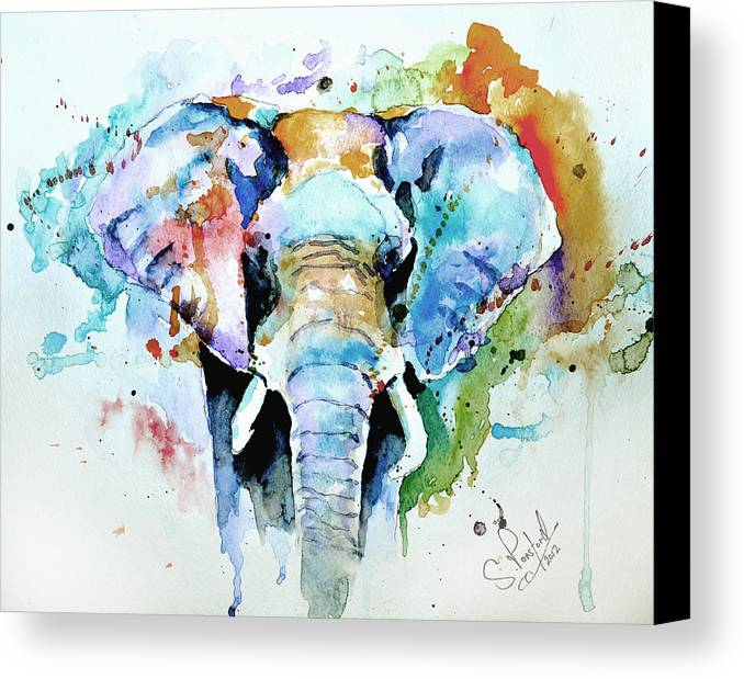 Elephant Canvas Print featuring the painting Splash Of Colour by Steven Ponsford