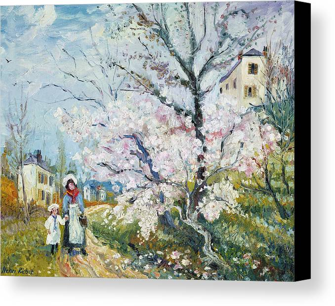 Garden Canvas Print featuring the painting Spring Blossom by Henri Richet