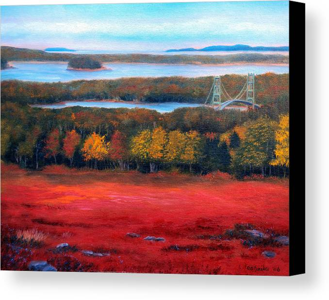 Maine Canvas Print featuring the painting Stonington Bridge In Autumn by Laura Tasheiko