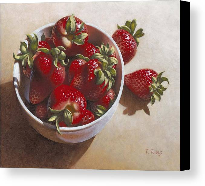 Strawberries Canvas Print featuring the painting Strawberries In China Dish by Timothy Jones
