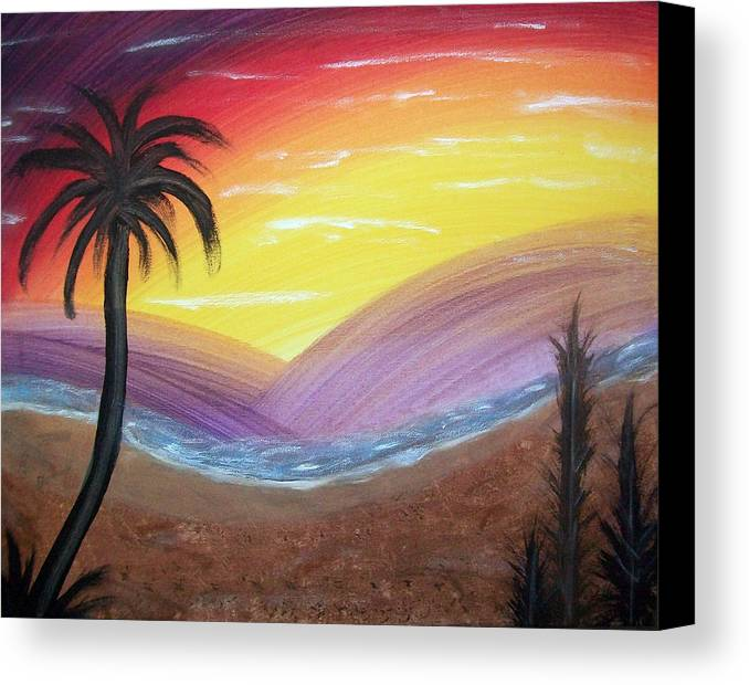 Abstract Canvas Print featuring the painting Sunset Escape by Lora Mercado