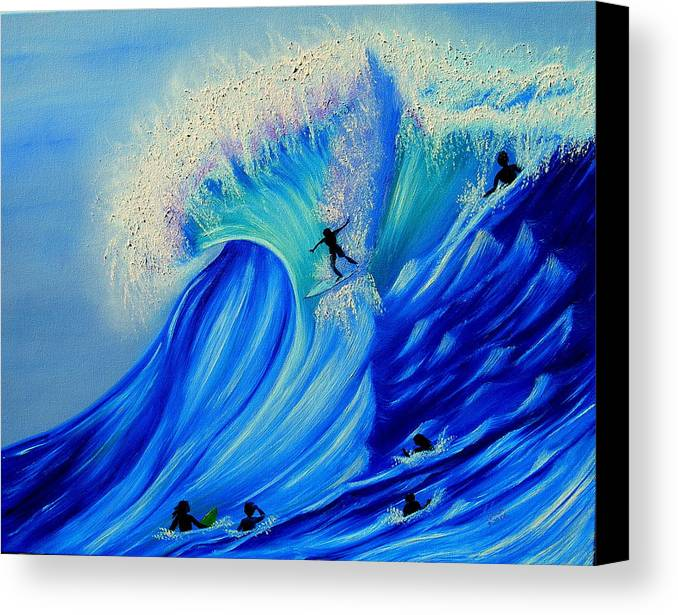 Surf Canvas Print featuring the painting Surfing Party by Kathern Welsh