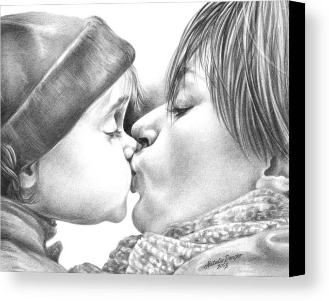 Sweet Kiss Canvas Print featuring the drawing Sweet Kiss by Natasha Denger