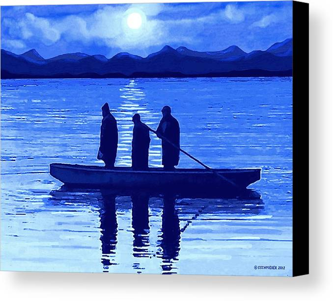 Fishing Canvas Print featuring the painting The Night Fishermen by Sophia Schmierer