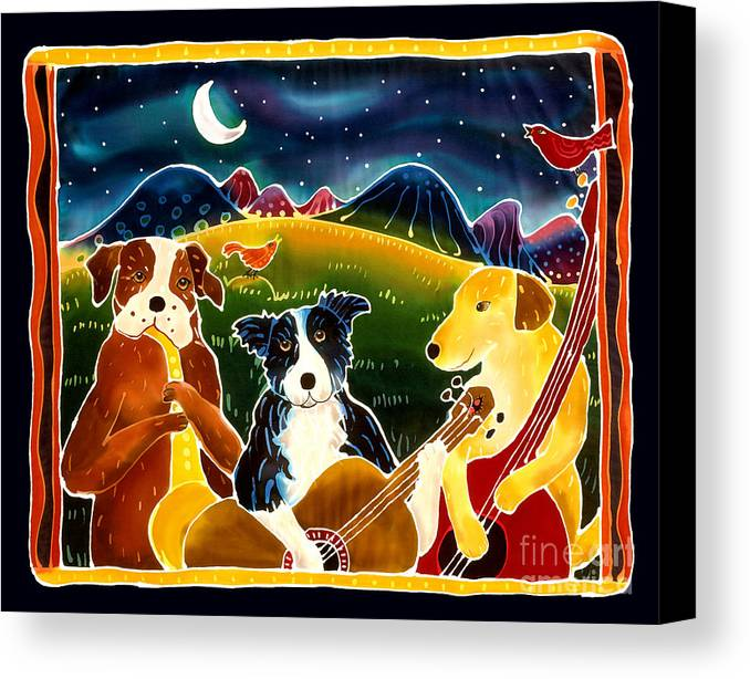 Dog Canvas Print featuring the painting Three Dog Night by Harriet Peck Taylor
