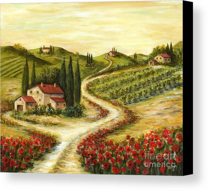 Tuscan Road With Poppies Canvas Print Canvas Art By