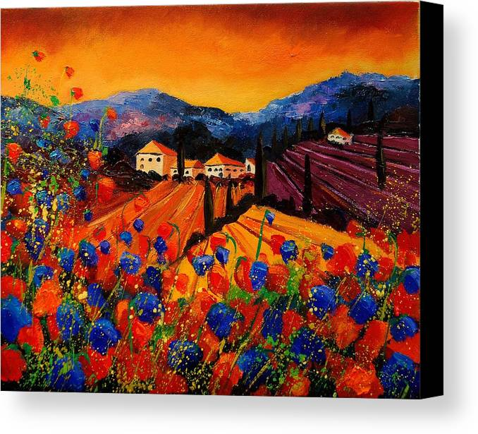 Poppies Canvas Print featuring the painting Tuscany Poppies by Pol Ledent