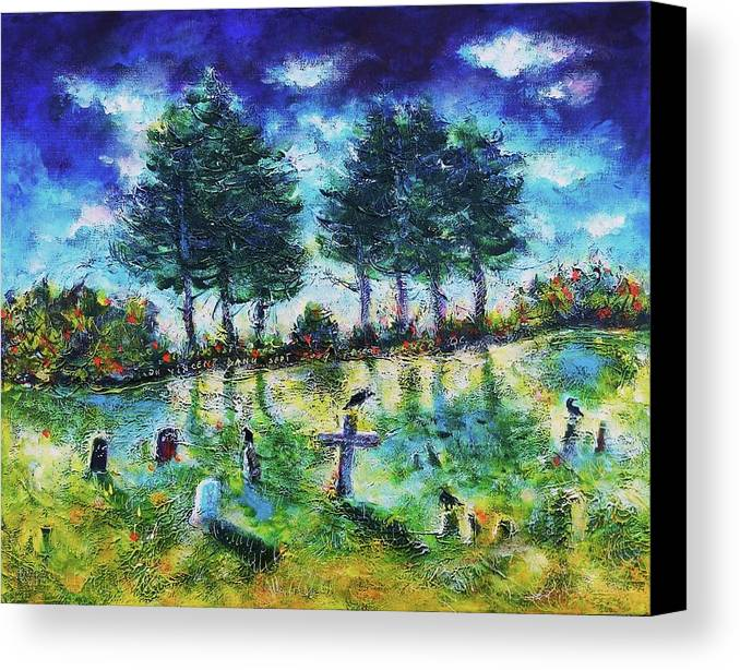 Landscapes Canvas Print featuring the painting The Jolly Cemetery by Ion vincent DAnu