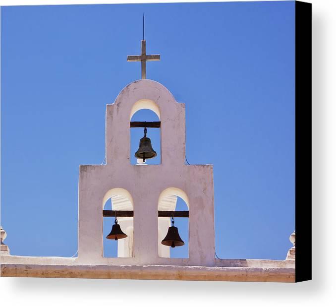 Tucson Arizona Canvas Print featuring the photograph Bells Of San Xavier by Tom Singleton