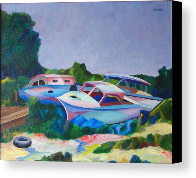 Boats Canvas Print featuring the painting Boat Dreams by Robert Henne