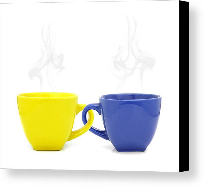 Cup Canvas Print featuring the photograph Color Cup With Hot Drink On White Background by Natthawut Punyosaeng