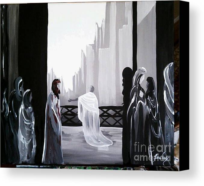 Pilate Canvas Print featuring the painting Condemned by Lisa Ivey