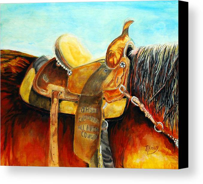 Artandipm Canvas Print featuring the painting Cowgirl Saddle by Mike Kinsey