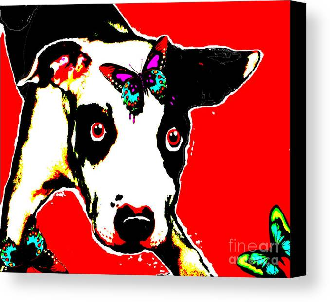 Dog Canvas Print featuring the painting Dog And Butterfly by Jann Paxton