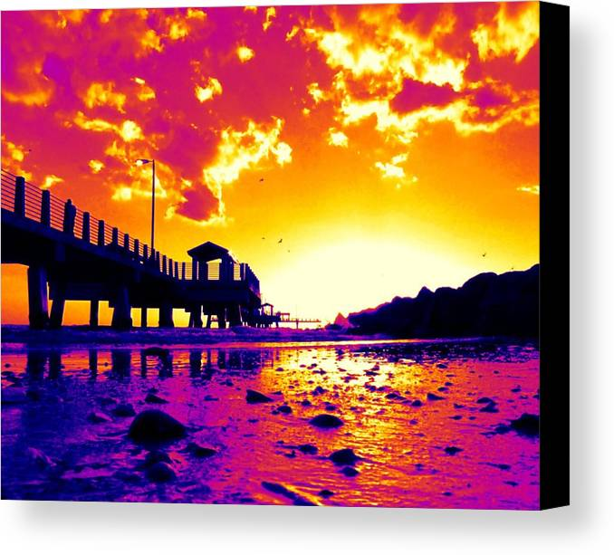 Pier Canvas Print featuring the digital art Heat Wave Sunset by Laura Holt
