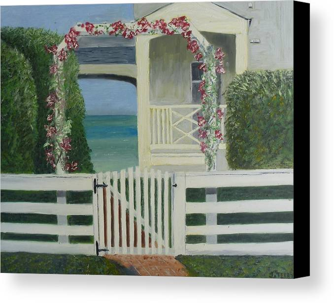 Beach House Canvas Print featuring the painting House By The Gulf by John Terry