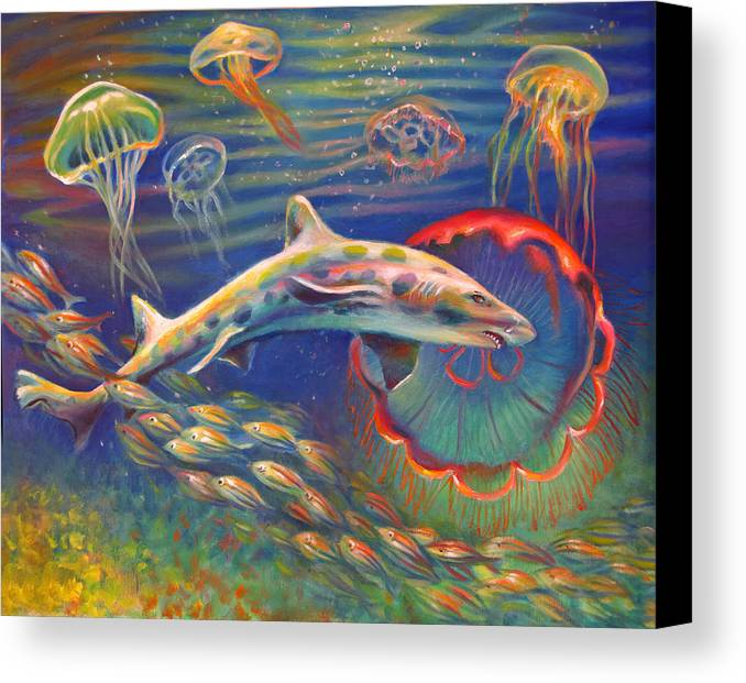Leopard Shark Canvas Print featuring the painting Leopard Shark And Jellyfish by Nancy Tilles