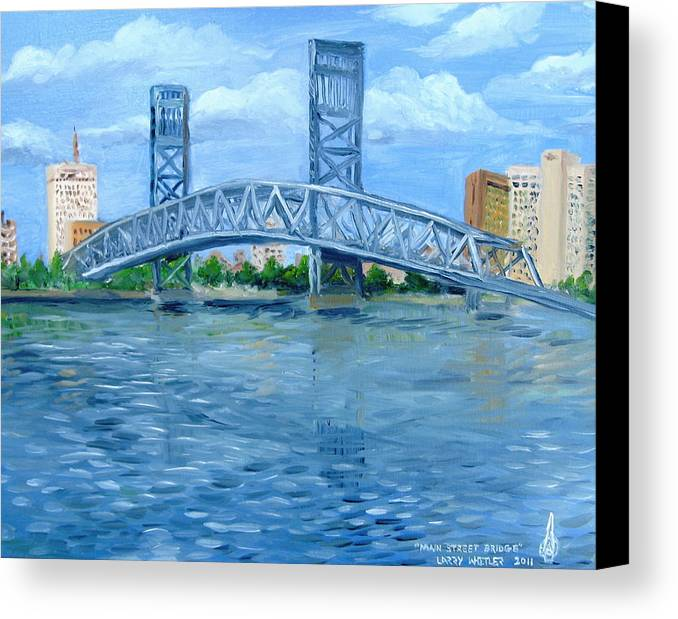 Bridge Canvas Print featuring the painting Main Street Bridge by Larry Whitler